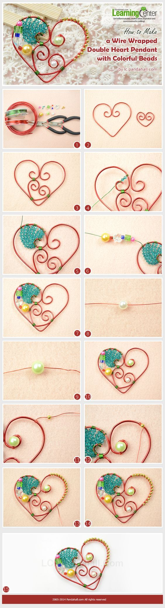 How to Make a Wire Wrapped Double Heart Pendant with Colorful Beads