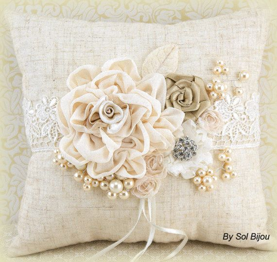 Bridal Ring Bearer Pillow in Ivory and Champagne with by SolBijou, $115.00