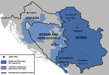 """The War Crimes Tribunal accused Slobodan Milošević of """"attempting to create a Greater Serbia""""', a Serbian state encompassing the Serb-populated areas of Croatia and Bosnia, and achieved by forcibly removing non-Serbs from large geographical areas through the commission of criminal activity."""