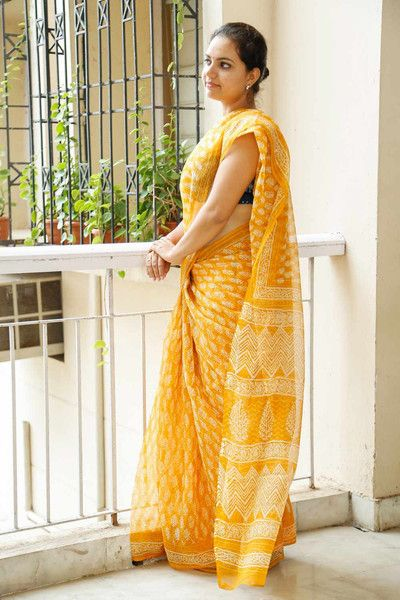 Yellow Kota Cotton Bagru Block-Printed Saree