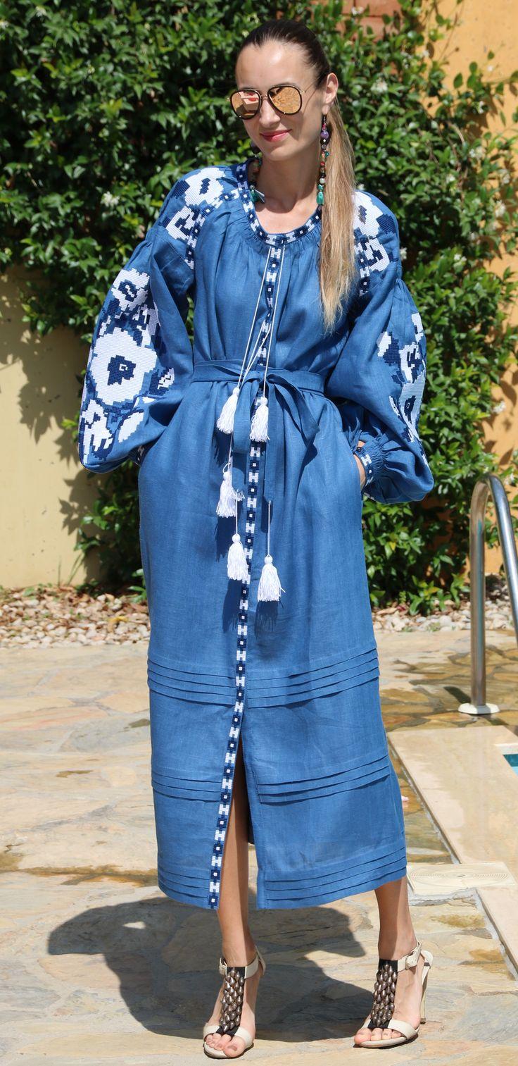 Fanm Mon Denim Blue Linen White Black Vyshyvanka MIDI Dress White Black Embroidery. Sizes - XS-XXL MD001001