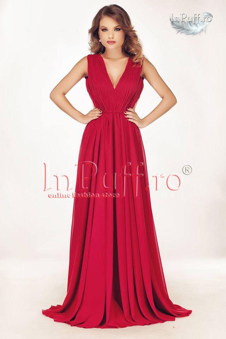 Rochie lunga eleganta voal rosu  rochie de seara eleganta din voal rosu decupata in V la spate plasa pe lateral