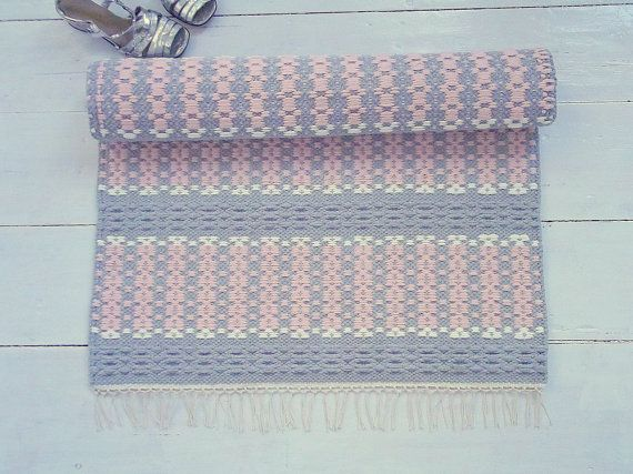 Grey and pink cotton rug, baby girl nursery rug, pastel rug, handmade, soft and thick, reversible, woven on the loom, made to order