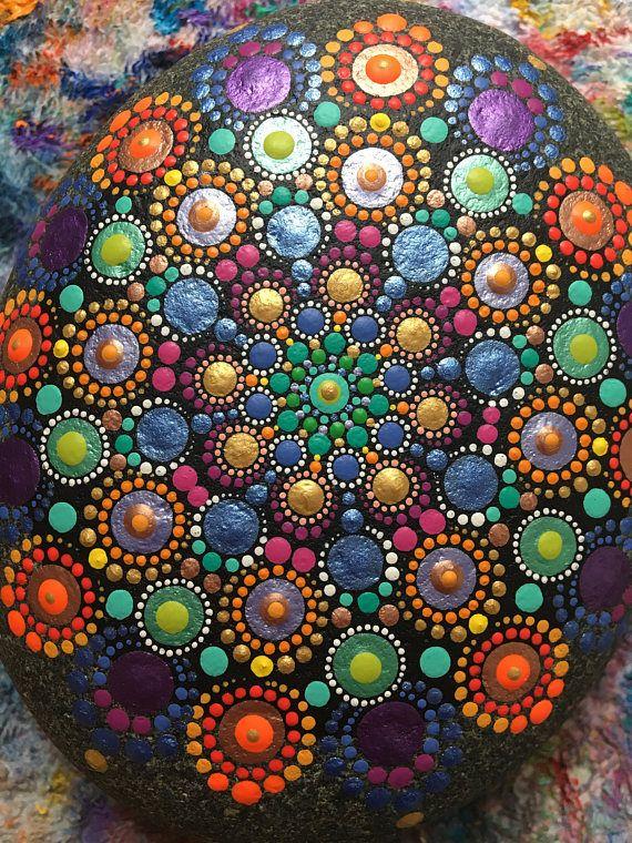 Mandala Stone  Hand Painted Dot Art  Dot Painting  Painted