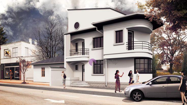 Locuinta cu o volumetrie moderna, situata pe limita de proprietate   Modern single-family dwelling on triangular site   Etichete: proiect de casa pe teren triunghiular, proiecte case mici, case moderne pe limita de proprietate