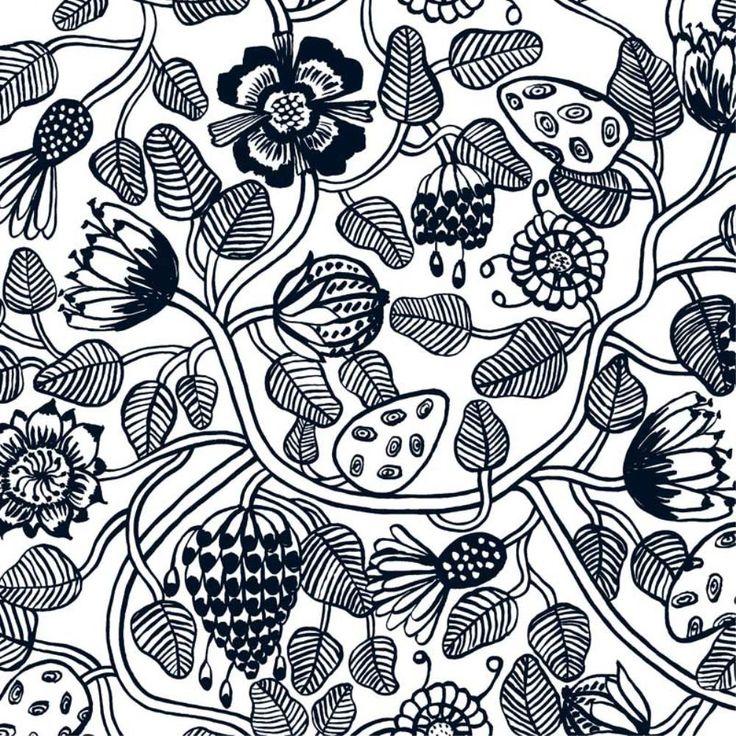 Tiara fabric in white, black 145 cm wide $83