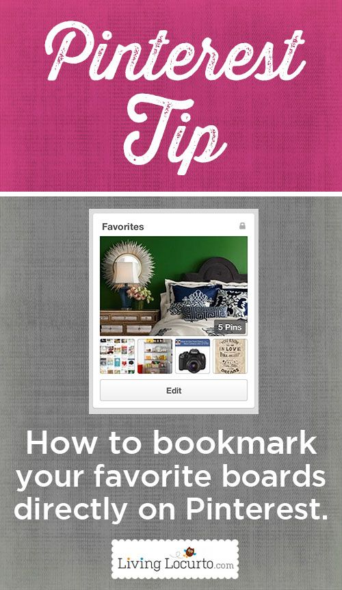 This might be the best #Pinterest tip I've seen ---> How to Bookmark Your Favorite Pinterest Boards Directly ON Pinterest. LivingLocurto.com
