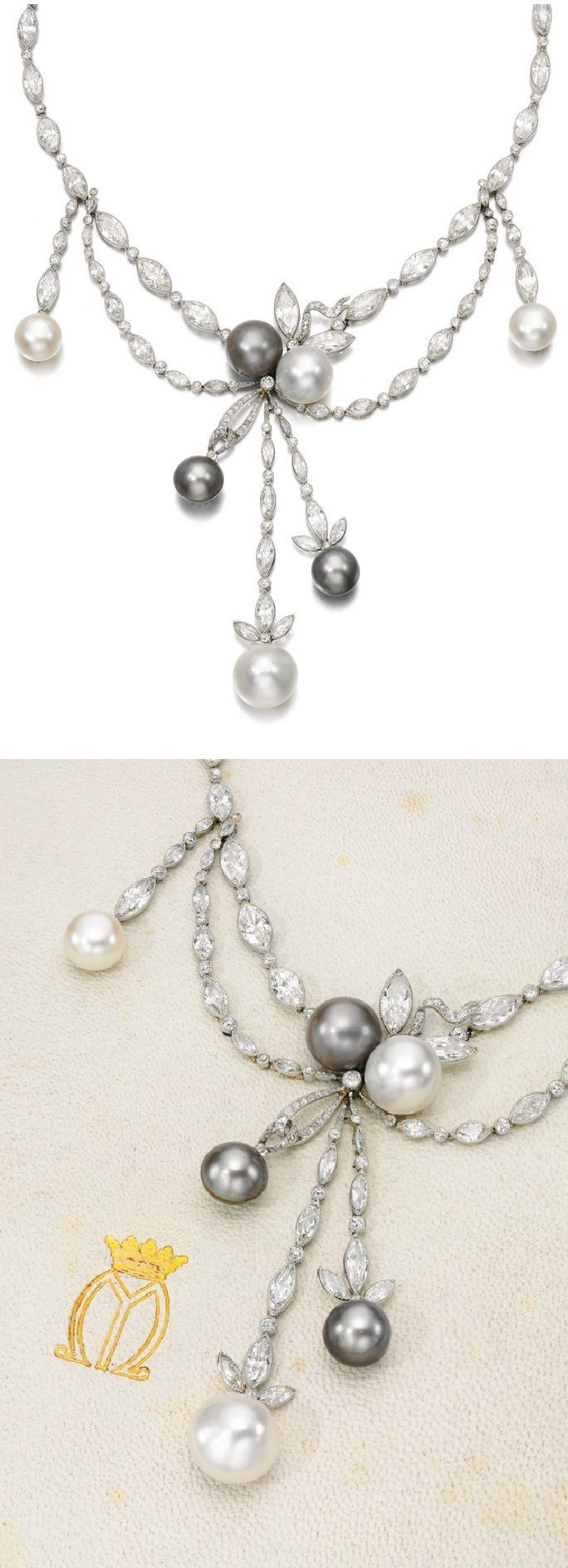 Formerly the property of MARY, DUCHESS OF ROXBURGHE - An Art Deco natural pearl and diamond necklace, circa 1920. Composed of millegrain-set marquise-shaped and circular-cut diamonds, the front with garland and ribbon designs supporting seven oval and button shaped natural pearls, case stamped Cartier, the exterior of the case with monogram and coronet for Mary, Duchess of Roxburghe. #DuchessRoxburghe #necklace