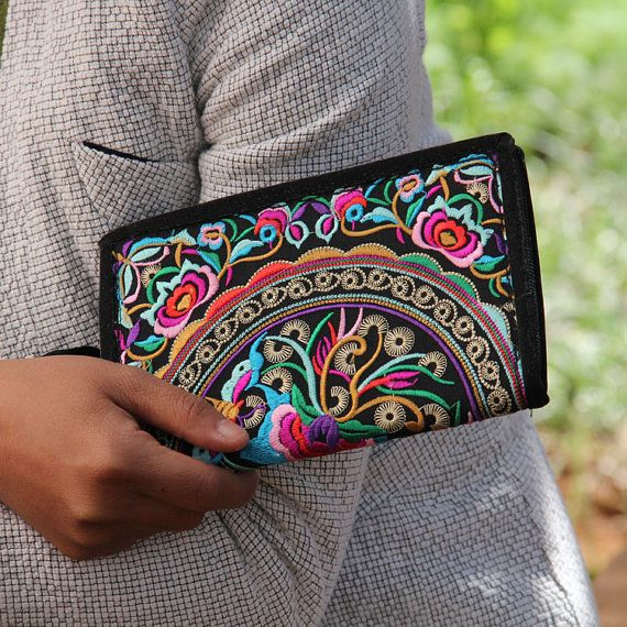 Vintage Wallet Hand Embroidered Clutch Folk style by littlePurser