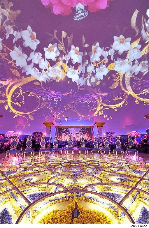 How to plan a luxury wedding in 2014. Simply stunning use of projection and floristy by Preston Bailey