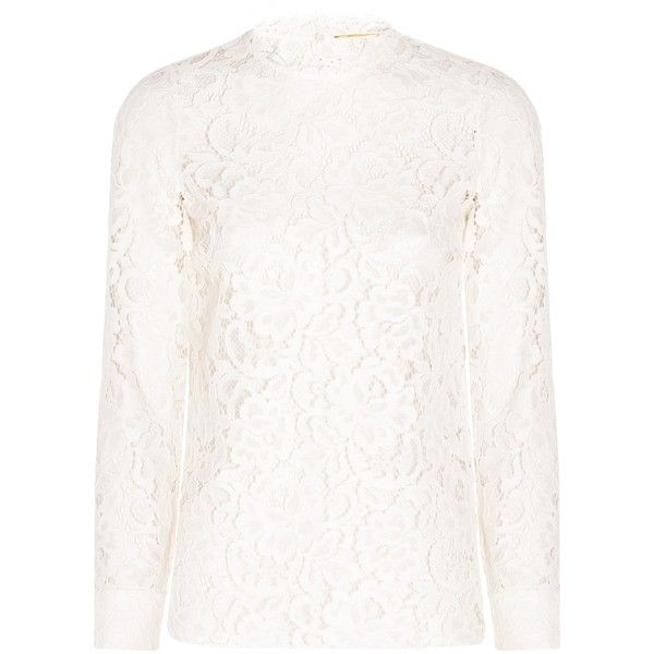 Saint Laurent Long Sleeve Lace Top ($504) ❤ liked on Polyvore featuring tops, scalloped lace top, cream long sleeve top, floral lace top, long sleeve lace top and cream top