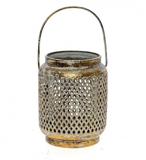 METAL LANTERN IN ANTIQUE GOLD 15X15X20_30