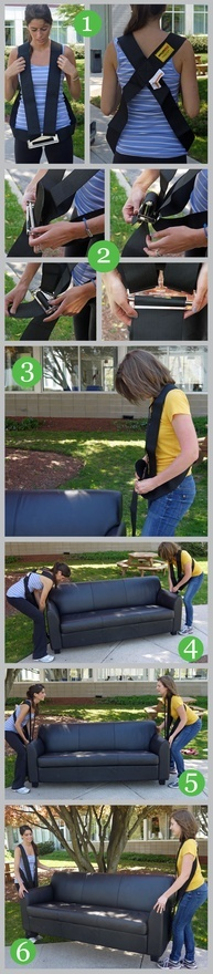 Tutorial for using shoulder #moving straps to lift heavy furniture and appliances. Perfect for #diy relocation! organizing-a-move