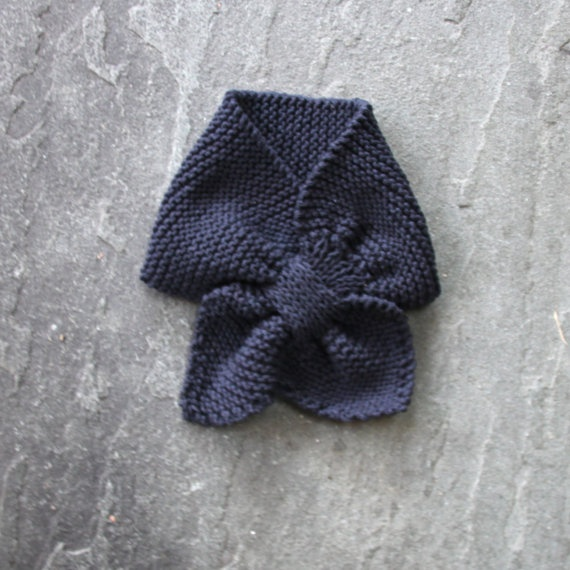Navy Blue Toddler scarf hand knit in cotton child by urbanknitfits