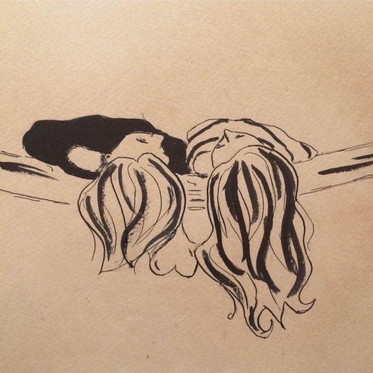 Illustration Sisters Love Ink Black