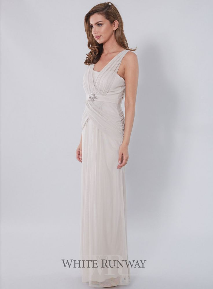 Lira Draped Dress. A gorgeous full length dress by Mr K. Features a draped v-neckline and draped detailing on the skirt. Perfect for Mother of the Brides and Bridesmaids.