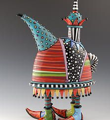 Fabulous Whimsy Teapot with 4 Legs wearing boots by ceramic artist Natalya Sots♥༺✿༻♥