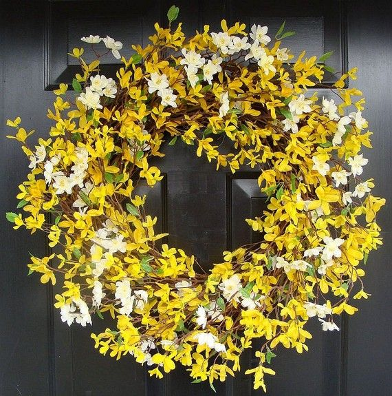 Large silk forsythia and cherry blossom spring wreath. $70 on Etsy. Shop: Elegant Holidays.