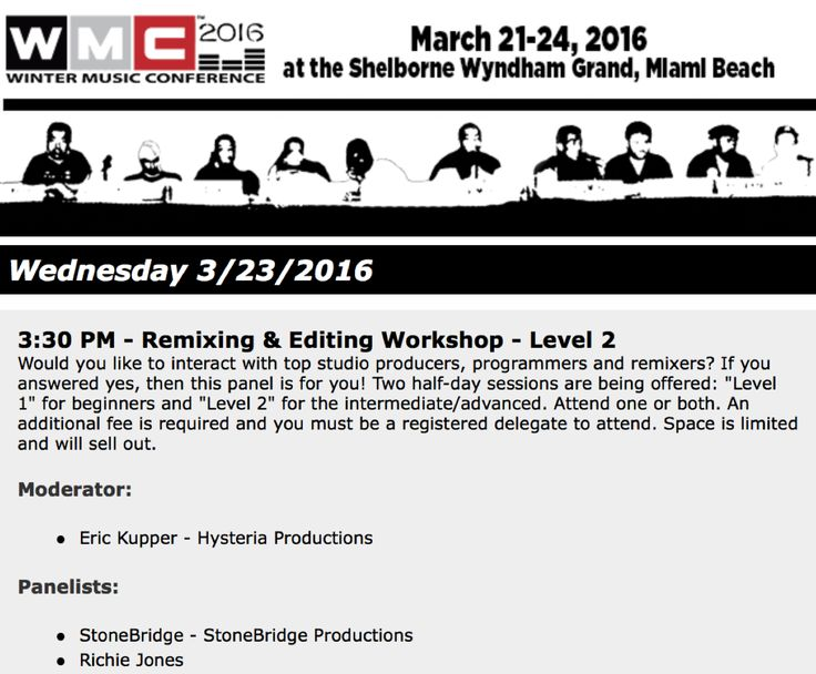 Happy to announce I'm doing the advanced Remixing & Editing Workshop with my boy Eric Kupper at WMC 2016 March 23, 3.30pm. Always a blast and we do share some secrets ;-)