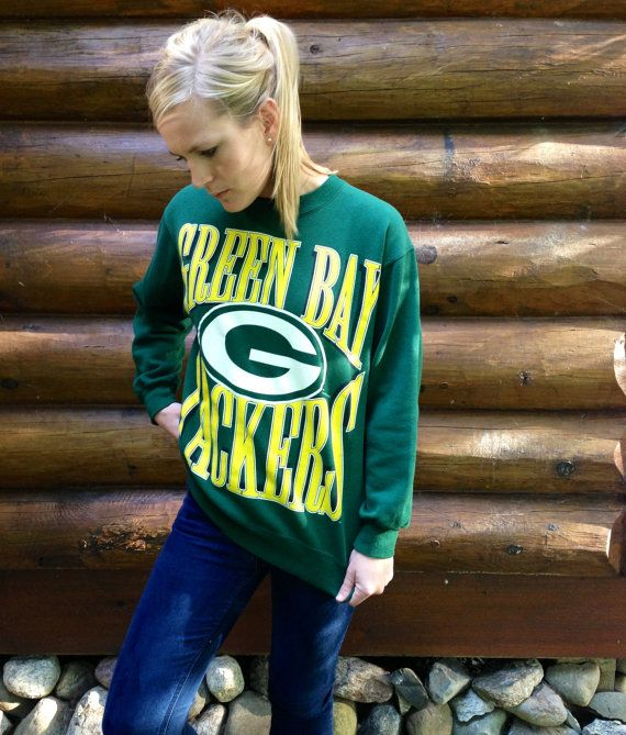 Vintage 90s - 1994 Green Bay Packers Green Sweatshirt via Etsy