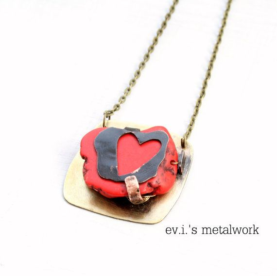 Red Heart Magnesite Pendant Necklace Mix Metal by evismetalwork