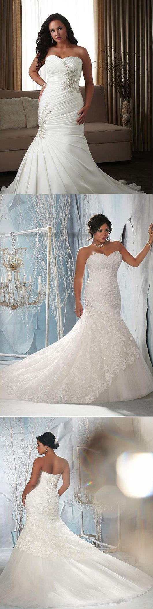 Awesome & Unique Plus Size Ivory Wedding Dresses for curvy / curves women that are simple, Beautiful, Elegant & Romantic which comes in different style like A Line, Mermaid, Ball Gown, Modest, Boho / Bohemian, Vintage / Modern, Lace / Lacy Look, with & without sleeves, backless / open back, with straps / strapless etc. These Flowy Bridal Dess are perfect for Beach / Rustic / Country / Winter / Courthouse / Cathedral Weddings / Rehearsal Dinners & fits with any body types - fat / petite