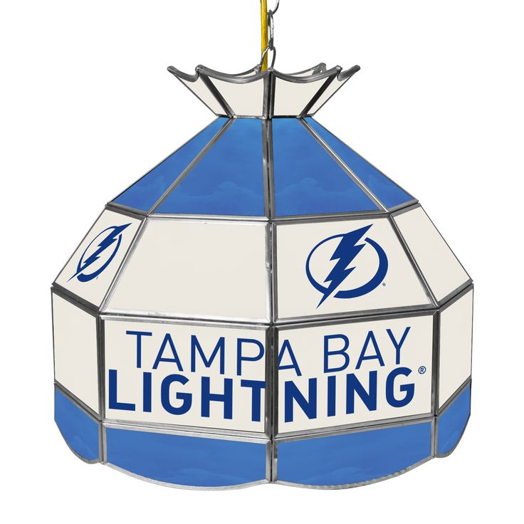 Trademark Gameroom NHL 16 Inch Handmade Tiffany Style Lamp - Tampa Bay Lightning