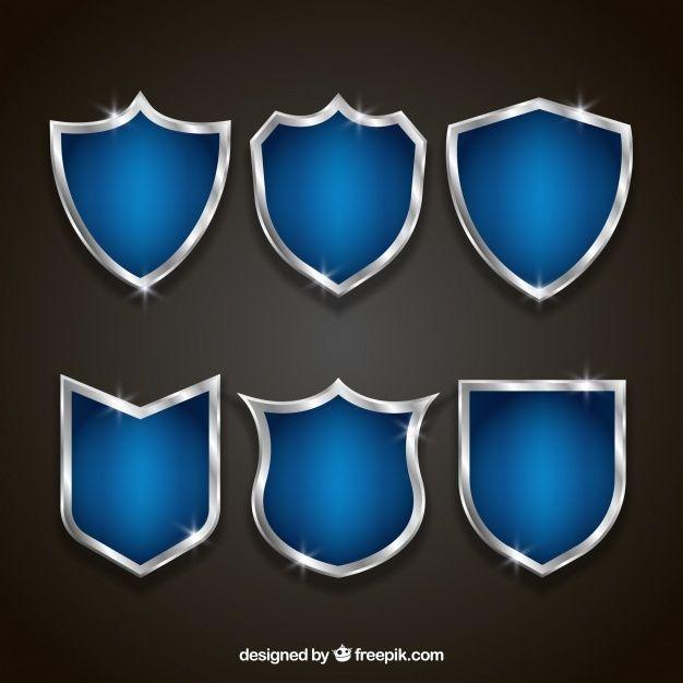 Set Of Elegant Blue And Silver Shields Shield Vector Logo Design Set Badge Design