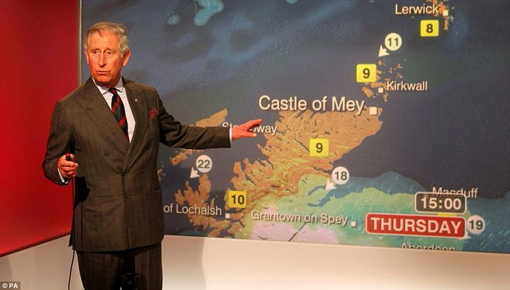 TV debut: The Prince of Wales reads the weather in the Six O'Clock studio whilst on a tour of the BBC Scotland Headquarters in Glasgow