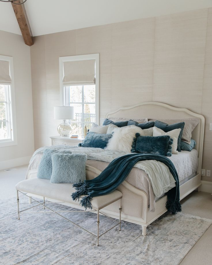 Fall Home Tour Highland House Home With Holly Blue Bedroom Decor Neutral Bedrooms Blue And Cream Bedroom