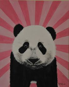 Painting, Panda, Acrylics on Box Canvas 40x50cm