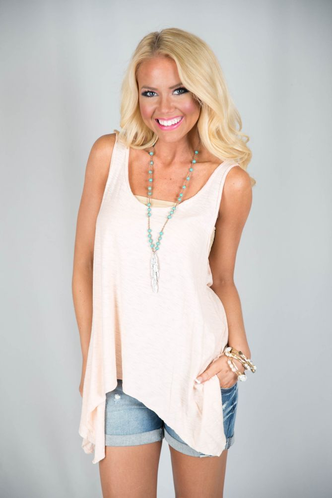 Pink Coconut Boutique | Two Sides To Every Story Tank - Peach