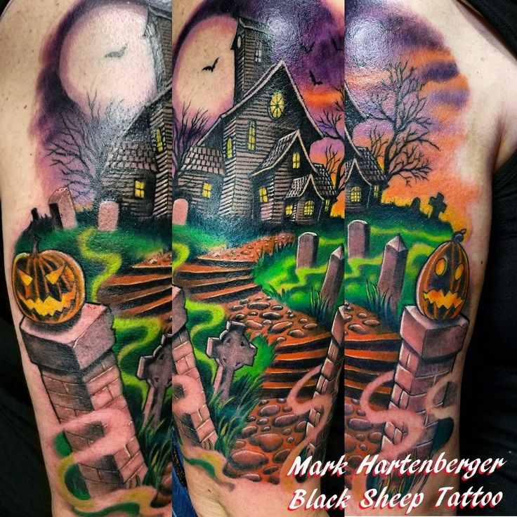 My awesome haunted house Halloween themed tattoo done by Mark Hartenberger of Black Sheep Tattoo in Tulsa, OK!