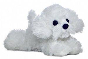 A mini stuffed Bichon toy
