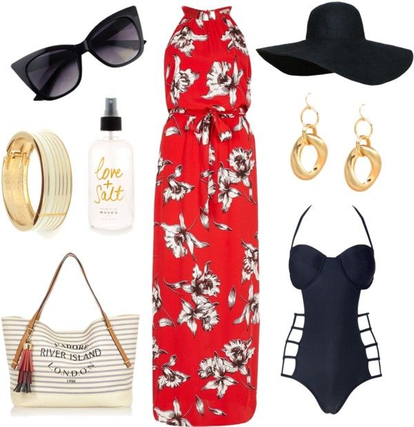 Red floral maxi dress to go over a swimsuit. Great outfit choice for a summer vacation.