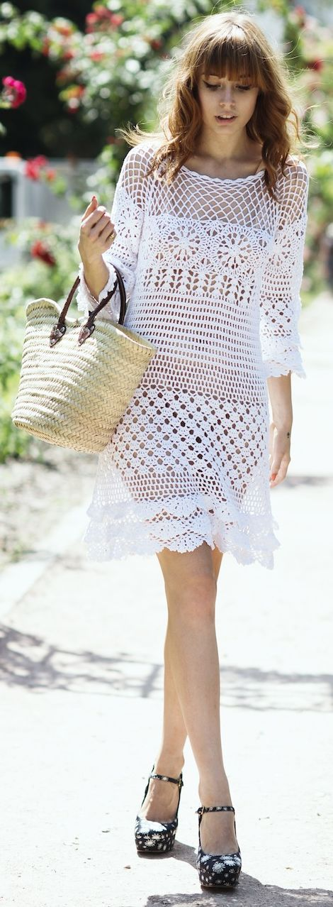 Chicwish White Crochet Open Weave Summer Mini Dress by Pandora