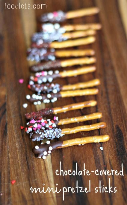 Chocolate covered pretzel sticks from Foodlets.com: The portion size is perfect for kids!