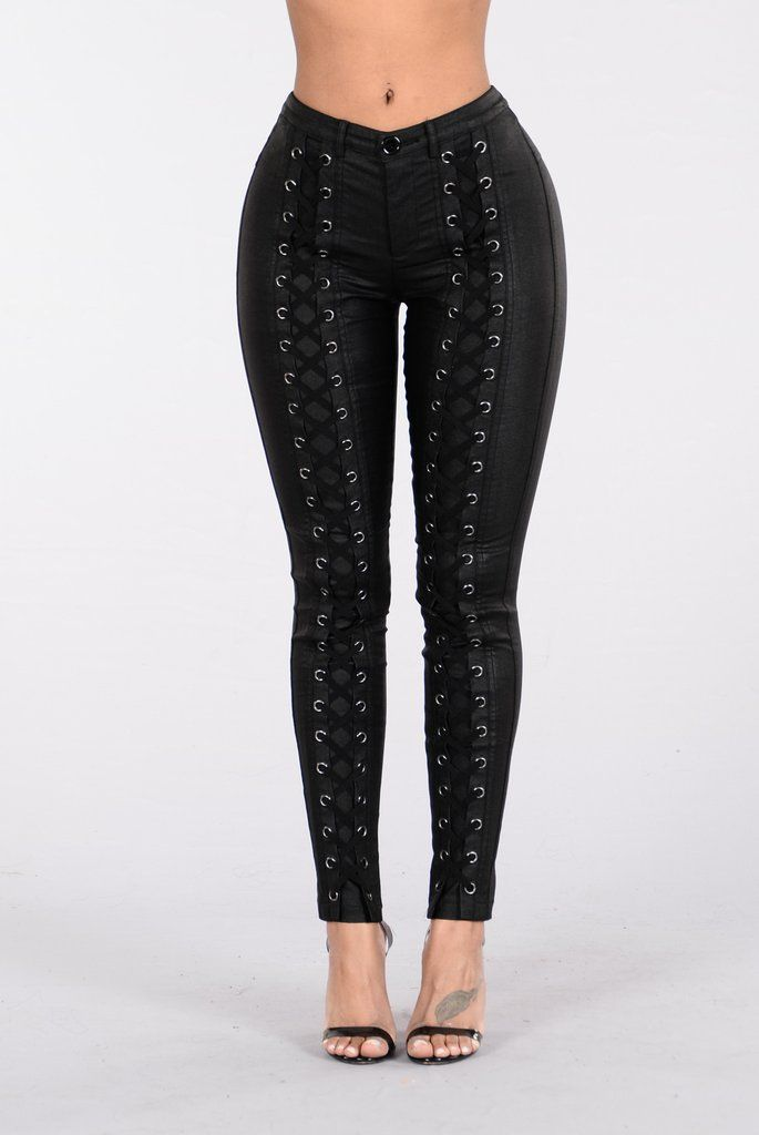 - Available in Black - Lace Up - Pleather Pants - Tight Fit - 65% Nylon 30%Cotton 5% Spandex