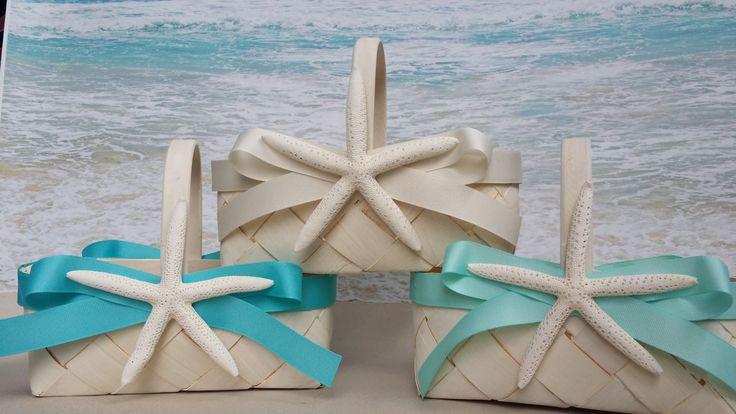 Starfish Beach Flower Girl Basket - Beach Wedding - Starfish - Hawaii - Blue - Beach - Rustic - Tropical - Seafoam - Coral by ParadiseBridal on Etsy