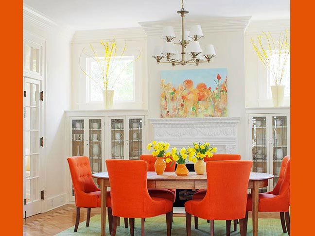 I want to recover my dining room chairs in the Pantone color of the year!: Dining Rooms, Built In, Orange Dining Room, Dining Chairs, White Rooms, Dining Spaces, Orange Chairs, Round Tables, Bright Colors