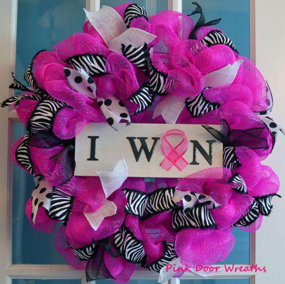 Made to Order Wreath BREAST CANCER SURVIVOR by PinkDoorWreaths