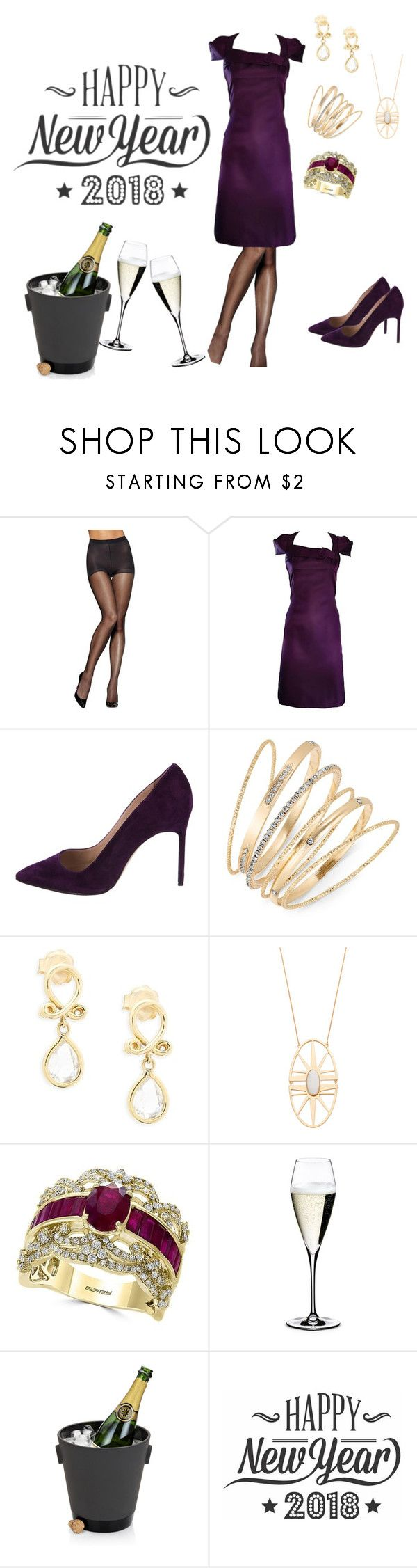 """""""Get ready with me Happy New Year outfit 🎆🎉"""" by kellykalymnoskd on Polyvore featuring Hanes, 6267, Manolo Blahnik, Thalia Sodi, Temple St. Clair, Trina Turk, Effy Jewelry, Riedel and Cricut"""