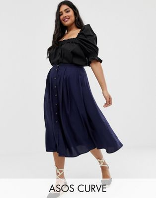 21df6d37b344 DESIGN Curve button front floaty midi skirt with pleats in 2019 ...