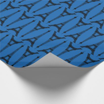 Six Inch Black Eiffel Towers on Turquoise Blue Wrapping Paper - vintage gifts retro ideas cyo