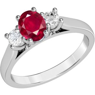 A timeless three stone ruby & diamond ring in 18ct white gold