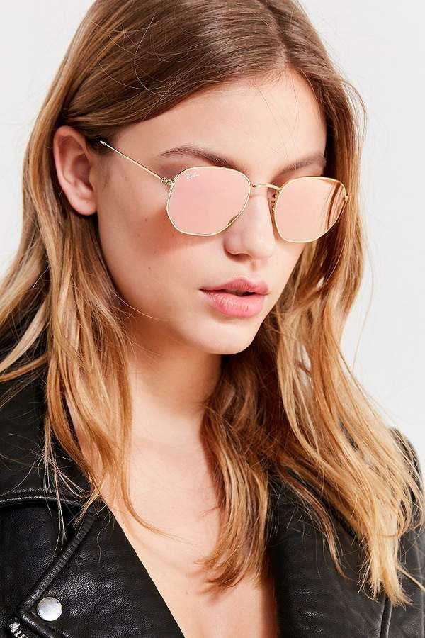 e3b1ac3584c Ray-Ban Hexagonal Flat Lens Gold Sunglasses
