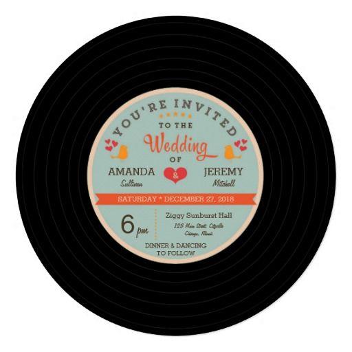 Modern Retro Vinyl Record Orange and Sky Blue Wedding Personalized Invitations by Poptastic Bride
