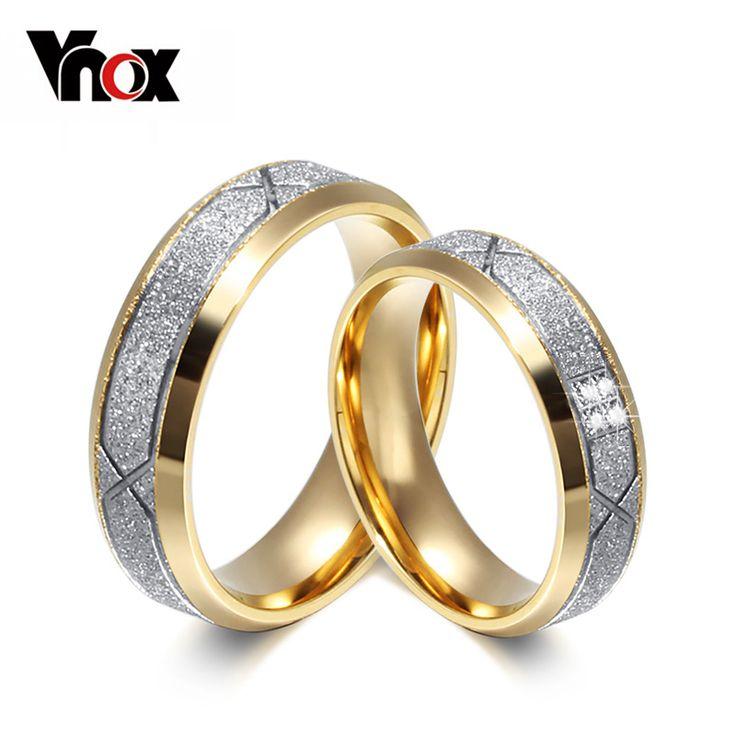 Vnox mode paar ring voor vrouwen mannen frosted matte rvs met CZ lover bruiloft verlovingsringen