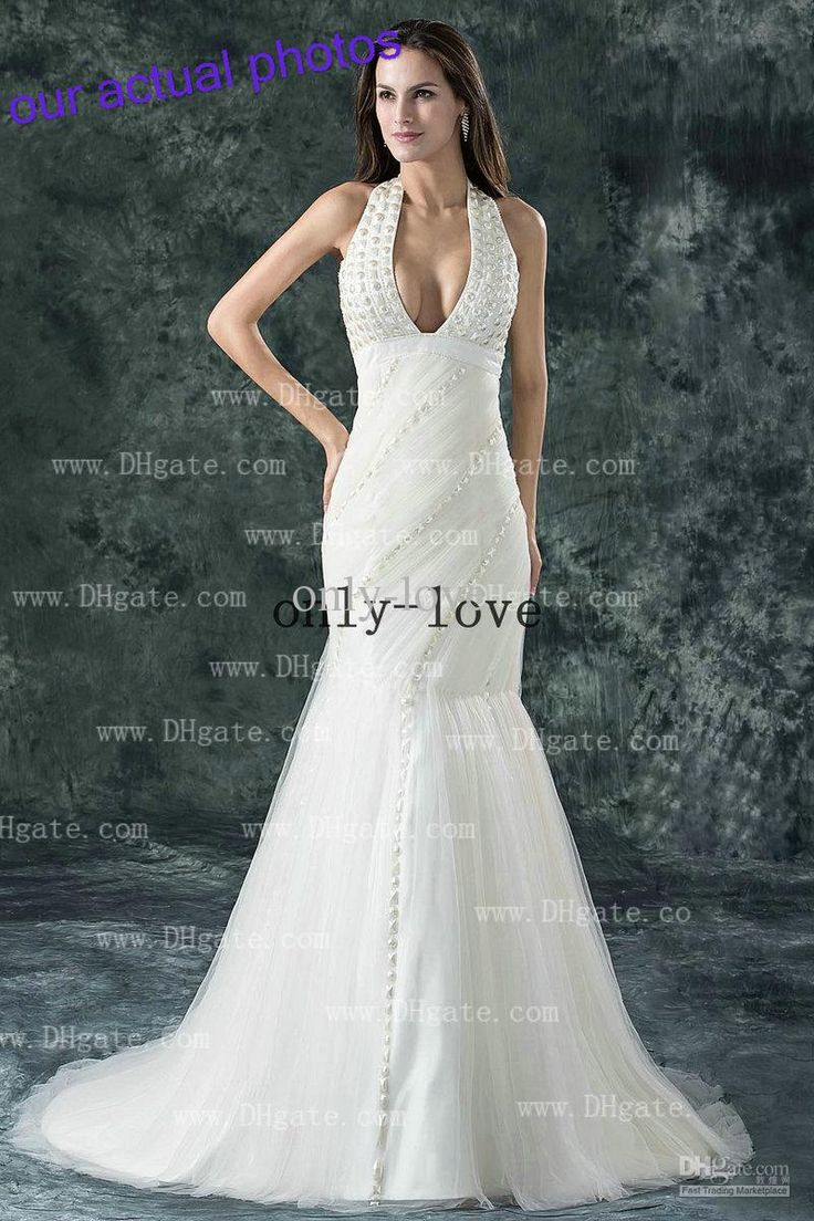 85 best wedding dresses images on pinterest wedding dressses sexy mermaid wedding dresses halter backless ruches beaded crystal ruffles floor length bridal gowns ombrellifo Gallery