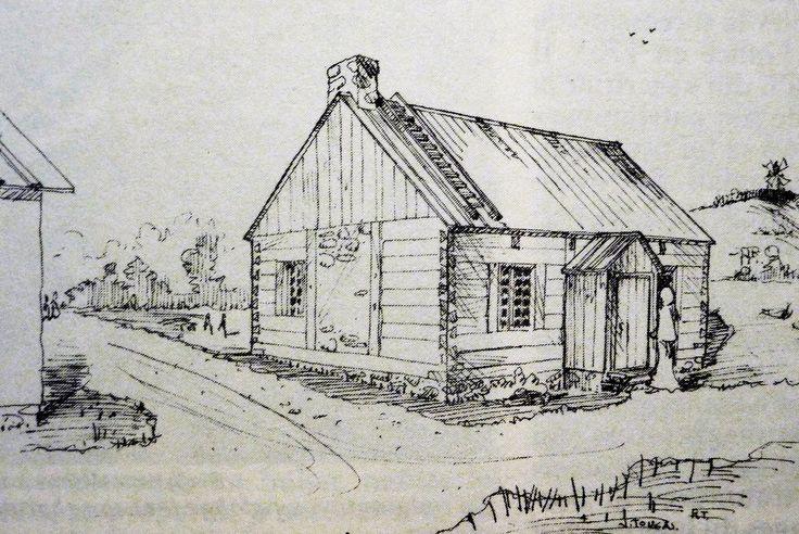Maison Marie Brazeau (1692).  Cette maison aurait été construite là où se situe la maison Pierre du Calvet aujourd'hui: elle était en bois (charpente pièce sur pièce) souche de cheminée apparente sur le mur pignon Ouest, toiture en planche à couvre-joint www.flickr.com/photos/urbexplo/5986571492 . À droite, l'artiste n'a pas hésité à représenter la butte sur laquelle fut construite plus tard une citadelle et où on voit un moulin à vent. Reconstitution d'après do...